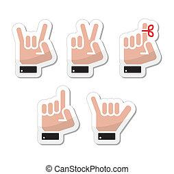 Hand vector gestures, signals - Human hands gesturing -...
