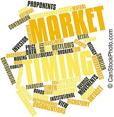 Market timing - Abstract word cloud for Market timing with...