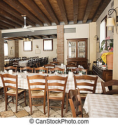 The interior of a small country style Italian cafe