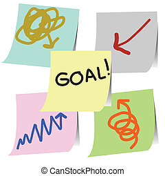 goal method - goal plan note on papersticker vector
