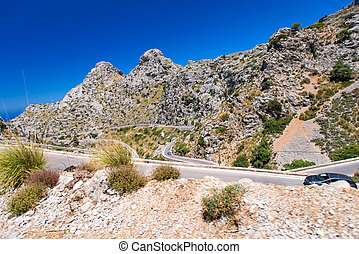 highway on Mallorca - Mountain highway on Mallorca, Spain