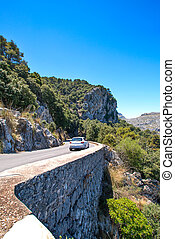 Mountain highway on Mallorca with car - Mountain highway on...