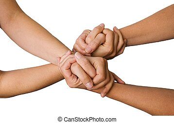 four hands holding each other - four hands hold each other,...