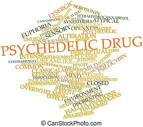 Psychedelic drug - Abstract word cloud for Psychedelic drug...