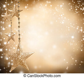 Christmas theme with golden stars and free space for text