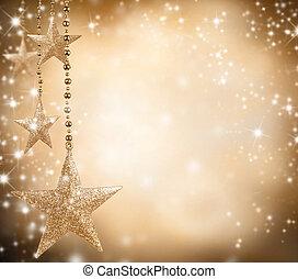 Natal, tema, dourado, estrelas, livre, espaço, texto