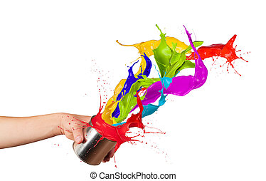 Colored paint splashes splashing out of can isolated on...