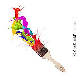 Colored paint splashes splashing from paintbrush on white...