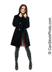 Young woman wearing black coat isolated on white background...