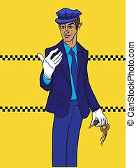 limo driver - Hand drawn illustration of a limo driver with...