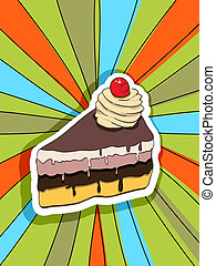 pop art slice of cake - Pop art graphic background with a...