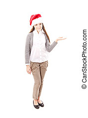 christmas girl pointing isolated over white