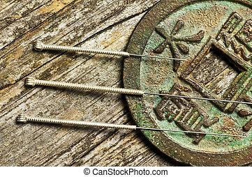 acupuntura, agujas, chino, moneda