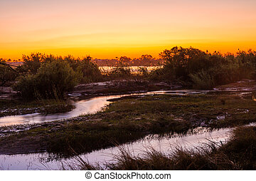 Zambezi River - The Zambezi River at dusk, seen from Zambia