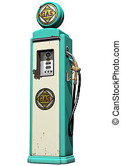 Vintage Gas Pump - Isolated illustration of a weathered...