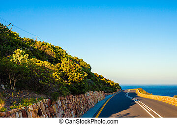 Seaside Curving Road - Curving road near the sea, Cape Town,...