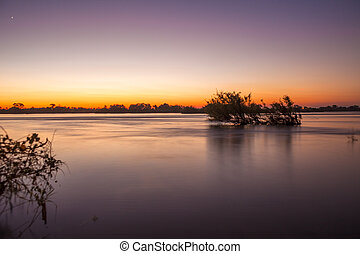 Zambezi River - The Zambezi River at dusk, seen from Zambia