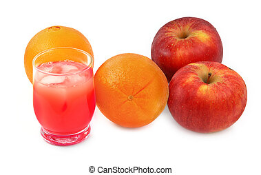 freshly squeezed fruit juice, apples, and oranges
