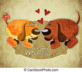 Valentines Day Card with cartoon dogs and hand lettering in...