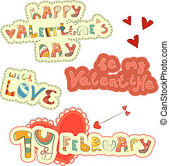 Set of Hand Lettering for St. Valentine's Day