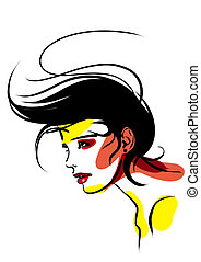 Female hairdress - Illustration with the image of a...
