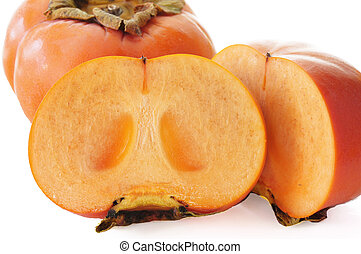 Jiro, kaki, (Persimmon, sharon, fruta, ), blanco, Plano de...