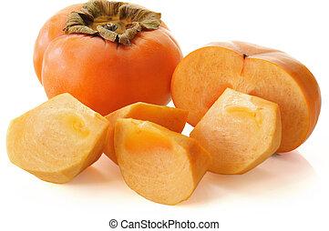 sharon, ), kaki, jiro, (persimmon, fruta, Plano de fondo,...