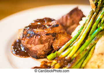Filet mignon steak on a plate