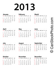 Calendar for 2013 on white, vector