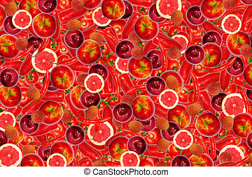different types of fruit and vegetables as background, red -...