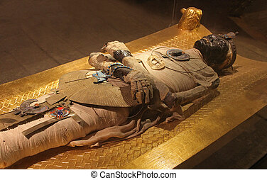 Egyptian mummy - Ancient Egyptian mummy body preserved by...