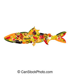 A fish, composed of fruit and vegetables - collage of a...