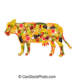 a cow, composed of fruit and vegetables - collage of a cow,...