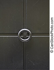 Black door with smooth textures, Local input decoration