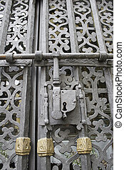 Iron lock - Wrought iron lock, door decoration ancient...
