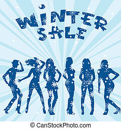 Winter sale advertising with women silhouettes