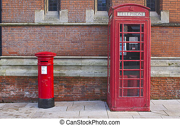 British Red Telephone and Post Box - Typical English old...