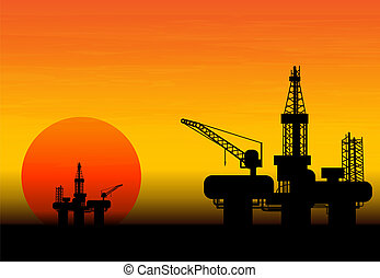 Oil Rig at late evening - Oil derrick in sea for industrial...