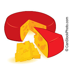 Cheese wheel vector - Vector illustration of red cheese...