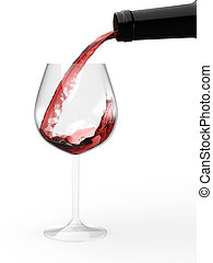 Pouring red wine into glass - Pouring red wine from bottle...