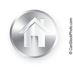 Home icon metal button vector