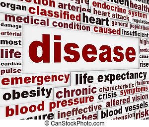 enfermedad, médico, advertencia, mensaje, Plano de...