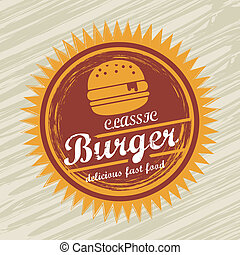 burger label over grunge background vector illustration