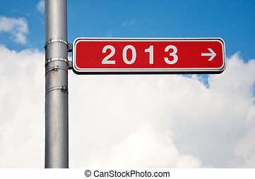 Next year - Street sign with number two thousand and...