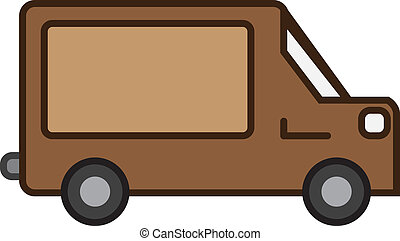 Shipping Truck - Isolated brown shipping truck with empty...