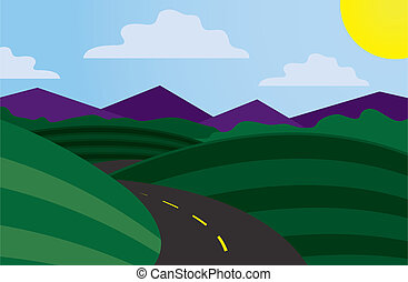 Curvy Road Scene - Curvy road scene with mountains in the...