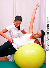 exercises control basin trunk with bobath ball fitball...