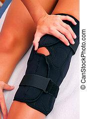 fisioterapia, rodilla, abrazadera