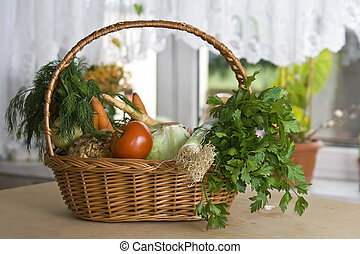 Vegetables in kitchen - Vegetables lying on the tabla on...