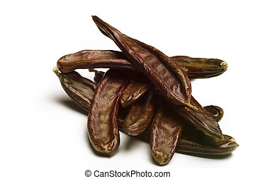 Carob Ceratonia siliqua on white - Carob isolated on white...